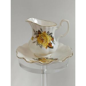 Royal Dover Creamer Pitcher Saucer Yellow Rose